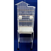 YML Villa Top Small Bird Cage w/ Stand and 4 Feeder Doors; White