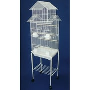 YML Pagoda Top Small Bird Cage w/ Stand; White