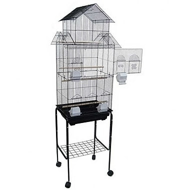 YML Pagoda Top Small Bird Cage w/ Stand; Black