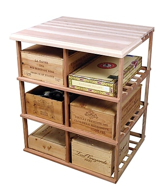 Wine Cellar Designer Series 60 Bottle Floor Wine Rack; Unstained Premium Redwood
