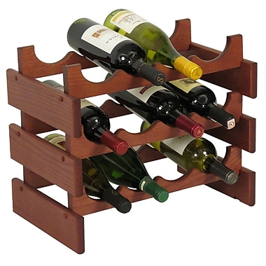 Wooden Mallet Dakota 12 Bottle Floor Wine Rack; Mahogany