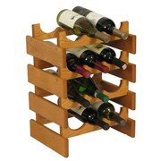 Wooden Mallet Dakota 12 Bottle Floor Wine Rack; Medium Oak