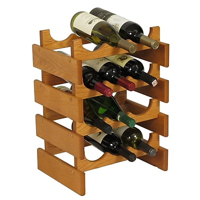 Wooden Mallet Dakota 12 Bottle Floor Wine Rack; Medium Oak