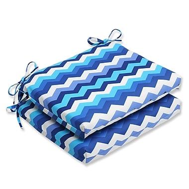 Pillow Perfect Panama Wave Outdoor Seat Cushion (Set of 2); Azure