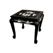 Oriental Furniture Chinese End Table; Black