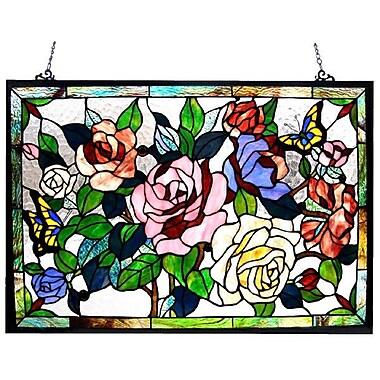 Chloe Lighting Tiffany Roses / Butterflies Design Window Panel