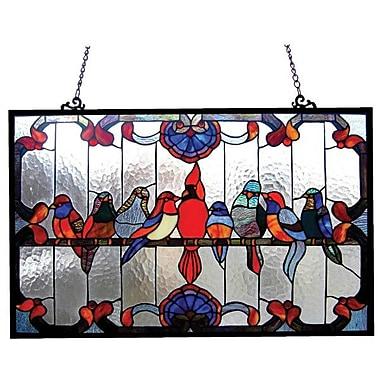 Chloe Lighting Tiffany Gathering Birds Window Panel
