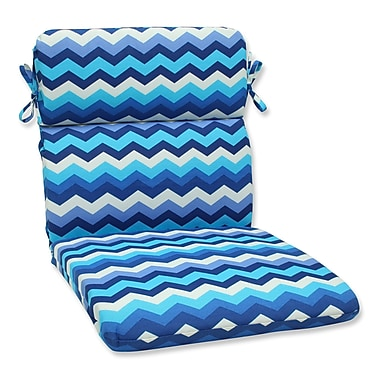Pillow Perfect Panama Wave Outdoor Chair Cushion; Azure