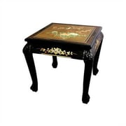 Oriental Furniture Chinese End Table; Gold