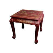 Oriental Furniture Chinese End Table; Red