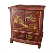 Oriental Furniture Japanese End Table; Red Crackle