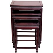 Oriental Furniture 3 Piece Nesting Tables; Rosewood