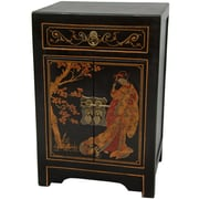 Oriental Furniture End Table; Antique Black Lacquer