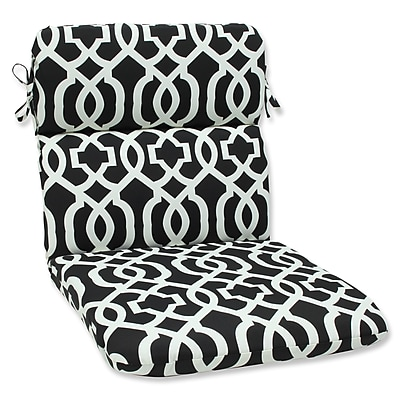 Pillow Perfect New Geo Outdoor Chair Cushion; Black / White