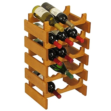 Wooden Mallet Dakota 15 Bottle Floor Wine Rack; Medium Oak