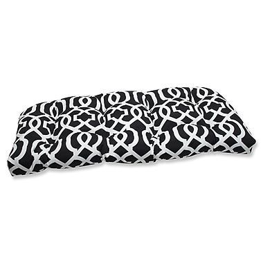 Pillow Perfect New Geo Outdoor Loveseat Cushion; Black / White