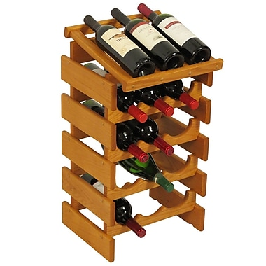 Wooden Mallet Dakota 15 Bottle Floor Wine Rack; Medium Oak