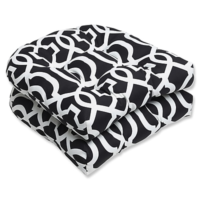Pillow Perfect New Geo Outdoor Seat Cushion (Set of 2); Black / White
