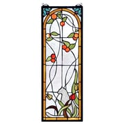 Meyda Tiffany Tiffany Cat and Tulips Stained Glass Window