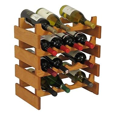 Wooden Mallet Dakota 16 Bottle Floor Wine Rack; Medium Oak