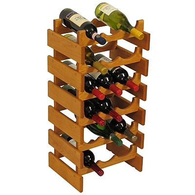 Wooden Mallet Dakota 18 Bottle Floor Wine Rack; Medium Oak