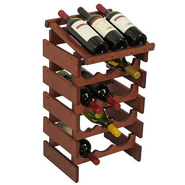 Wooden Mallet Dakota 15 Bottle Floor Wine Rack; Mahogany