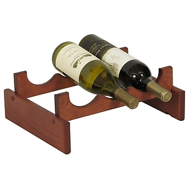 Wooden Mallet Dakota 3 Bottle Tabletop Wine Rack; Mahogany