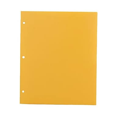 JAM Paper® Plastic Heavy Duty 3 Hole Punched 2 Pocket School Folders, Yellow, 108/Pack (383HHPYEA)