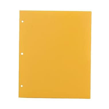 JAM PaperMD – Chemise scolaire en plastique à 3 trous, 9 1/2 x 11 1/2 (po), jaune, 108/boîte