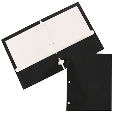 JAM Paper® Glossy 2 Pocket 3 Hole Punched Folders, Black, 12/Pack (385GHPblag)