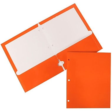 JAM Paper® Glossy 2 Pocket 3 Hole Punched Folders, Orange, 12/Pack (385GHPorag)