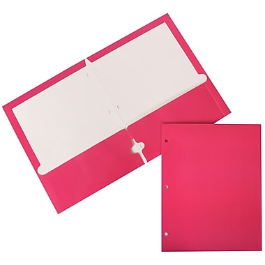 JAM Paper® Glossy 2 Pocket 3 Hole Punched Folder, Hot Pink, 12/Pack (385GHPFUAg)