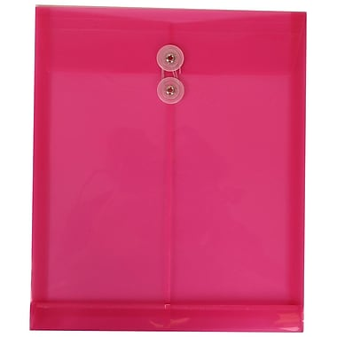 JAM Paper® Plastic Envelopes with Button and String Tie Closure, Letter Open End, 9.75 x 11.75, Pink Poly, 12/Pack (118B1FU)