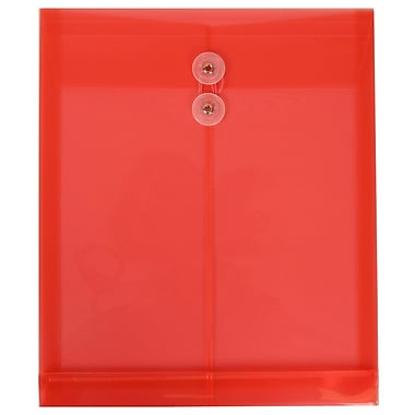 JAM Paper® Plastic Envelopes with Button and String Tie Closure, Letter Open End, 9.75 x 11.75, Red Poly, 12/Pack (118B1RE)