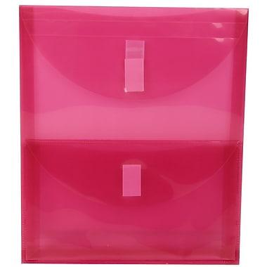 JAM Paper® Plastic 2 Pocket Envelopes, VELCRO® Brand Closure, Letter Open End, 9.75 x 11.75, Pink Poly, 10/Pack (167525934g)