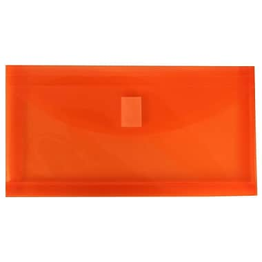 JAM Paper® #10 Plastic Envelopes with VELCRO® Brand Closure, 1 Expansion, 5.25 x 10, Orange Poly, 108/Pack (921V1ORB)