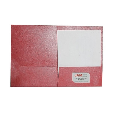 JAM Paper® Handmade Recycled Folders, Metallic Red, 6/Pack (5964497g)