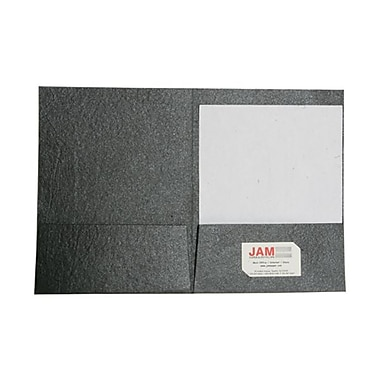 JAM Paper Handmade Recycled Folders, Metallic Black, 6/Pack (5964467g)