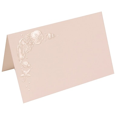 JAM Paper® Foldover Placecards, 2.75 x 4.25, Ivory Embossed Seashells Wedding place cards, 100/pack (307324865)