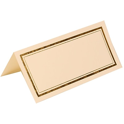 JAM Paper® Foldover Placecards, 2 x 4.25, Ivory with Double Gold Border place cards, 100/pack (18025324)