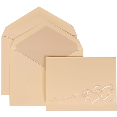 JAM Paper® Wedding Invitation Set, Large, 5.5 x 7.75, Ivory Entwined Hearts with Pearl Lined Envelopes, 50/pack (307125760)