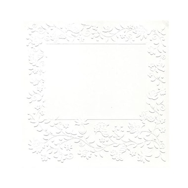 JAM Paper® Blank Note Cards, 7 x 7, Embossed White Flower, 100/Pack (317512231)