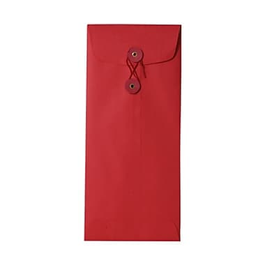 JAM Paper® #10 Policy Envelopes with Button and String Tie Closure, 4 1/8 x 9 1/2, Brite Hue Red Recycled, 25/pack (1261599)