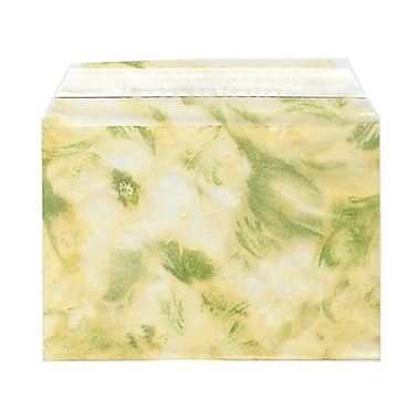 JAM Paper® Cello Sleeves, A7, 5 1/16 x 7 3/16, Floral Green, 100/Pack (2785506)
