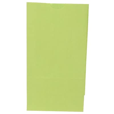 JAM Paper® Kraft Lunch Bags, Small, 4.125 x 8 x 2.25, Lime Green, 500/box (690KRLIGRB)