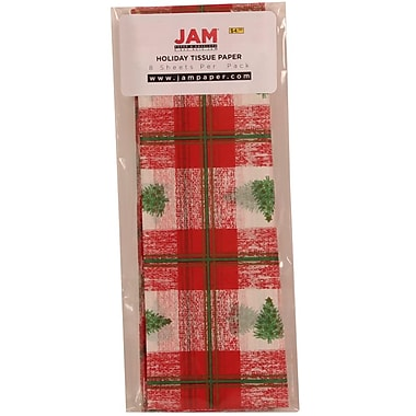 JAM Paper® Christmas Holiday Tissue Paper, Christmas Tree Plaid, 8/pack (21186447)