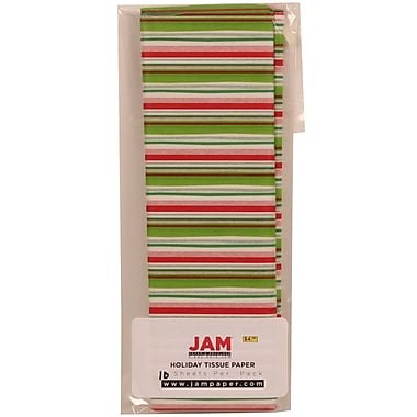 JAM Paper® Christmas Holiday Tissue Paper, Green Red and White Stripe, 8/pack (11824288)