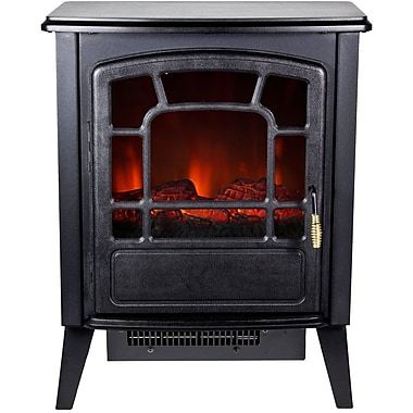 Frigidaire® Bern Retro Style Floor Standing Electric Fireplace, Black