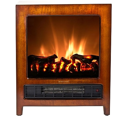 Frigidaire® Kingston Wooden Floor Standing Electric Fireplace, Brown