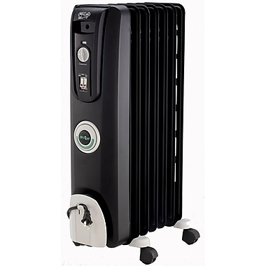 DeLonghi EW7707C ComforTemp Portable Oil-filled Radiator With Easy Wheels, Black